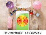 zodiac signs and smart phone... | Shutterstock . vector #669169252