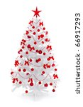 White christmas tree with red decoration, isolated on white - stock photo