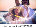 young couple sharing happy  and ... | Shutterstock . vector #669173092