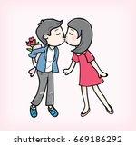 couple kissing vector   Shutterstock .eps vector #669186292