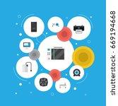 flat icons presentation  cooler ... | Shutterstock .eps vector #669194668