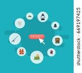 flat icons hill  bag  kerosene... | Shutterstock .eps vector #669197425