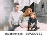 happy family of three people.... | Shutterstock . vector #669200182