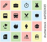 set of 16 editable school icons.... | Shutterstock .eps vector #669202435