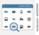 set of 12 editable shipment... | Shutterstock .eps vector #669203005