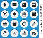 set of 16 editable school icons.... | Shutterstock .eps vector #669203125