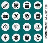 set of 16 editable education... | Shutterstock .eps vector #669204448
