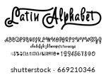 vector alphabet. calligraphic... | Shutterstock .eps vector #669210346