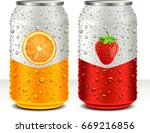 aluminum tin cans with orange ... | Shutterstock .eps vector #669216856