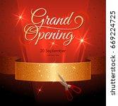 banner with golden ribbon on...   Shutterstock .eps vector #669224725