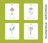 set of vector floral cards.... | Shutterstock .eps vector #669233026