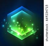 techno glowing glass hexagons... | Shutterstock .eps vector #669234715