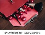stylish handbag with cosmetics... | Shutterstock . vector #669238498