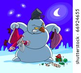 where is my gift    snowman ask ... | Shutterstock .eps vector #66924655
