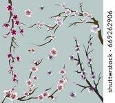 set of sakura japan cherry | Shutterstock .eps vector #669262906