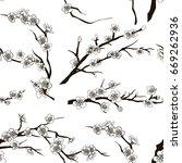 set of sakura japan cherry... | Shutterstock .eps vector #669262936
