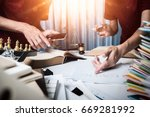 the attorney team is consulting ... | Shutterstock . vector #669281992
