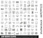 100 book icons set in outline... | Shutterstock .eps vector #669299122