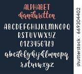 white handwritten latin... | Shutterstock .eps vector #669304402