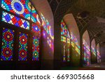 beautiful windows of famous... | Shutterstock . vector #669305668