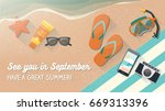 man enjoying summer vacations... | Shutterstock .eps vector #669313396