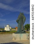 Small photo of NIN, CROATIA - MAY 29, 2017: The bronze statue of Grgur Ninski (Gregory of Nin), the Bishop and great advocate of the old Slavonic language and national script.