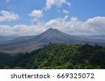 batu volcano view on a bright... | Shutterstock . vector #669325072