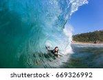 Surfer Body Boarder Surfing...