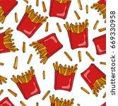crispy french fries seamless... | Shutterstock .eps vector #669330958