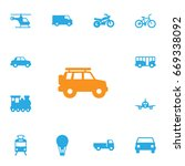 set of 13 transport icons set... | Shutterstock .eps vector #669338092