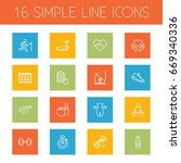 set of 16 fitness outline icons ... | Shutterstock .eps vector #669340336