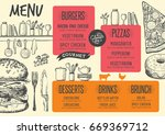 food menu for restaurant and... | Shutterstock .eps vector #669369712