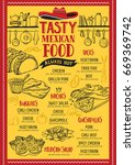 mexican food menu for... | Shutterstock .eps vector #669369742