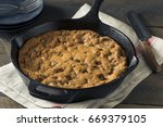 Small photo of Hot Homemade Chocolate Chip Skillet Cookie Ready to Eat