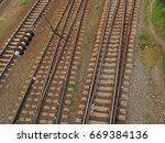 train  railway  rails | Shutterstock . vector #669384136