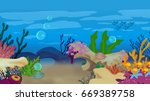 underwater cartoon scene  | Shutterstock . vector #669389758