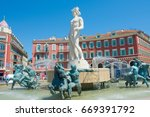 fountain on place massena in... | Shutterstock . vector #669391792