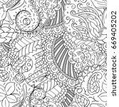 tracery seamless pattern.... | Shutterstock .eps vector #669405202