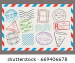 post stamp flat cartoon set.... | Shutterstock .eps vector #669406678