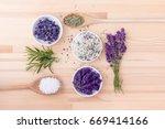 herb salt of rosemary and... | Shutterstock . vector #669414166