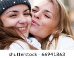 two cheerful girls twins  in... | Shutterstock . vector #66941863