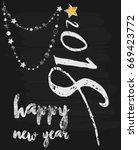 christmas card on black gold... | Shutterstock .eps vector #669423772