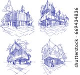 four hand drawn sketches  of... | Shutterstock . vector #669434836