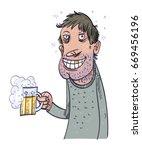happy man drinking beer. vector ...   Shutterstock .eps vector #669456196
