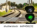 routing traffic light with a... | Shutterstock . vector #669458152