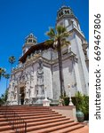 Small photo of San Simeon,CA June 2017- East side view of Hearst Castle. Home of William Randolph Hearst who is a successful newspaper publisher during the early part of 1900.
