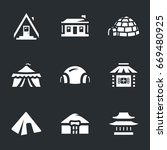 vector set of buildings icons. | Shutterstock .eps vector #669480925