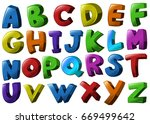 english alphabet fonts in... | Shutterstock .eps vector #669499642