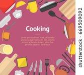 cartoon cookware banner card... | Shutterstock .eps vector #669509092