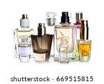 Perfume Bottles On White...